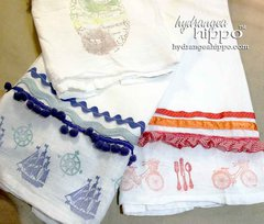 Handmade Stamped Tea Towels