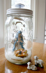Silent Night Ball Jar using Cosmo Show Toppers