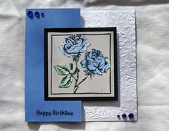 Blue Rose Birthday Flip Card