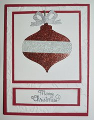 Red and Silver Christmas Ornament Card