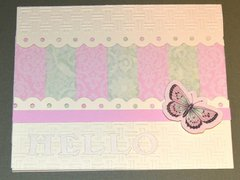 Pink and Green Hello Butterfly Card