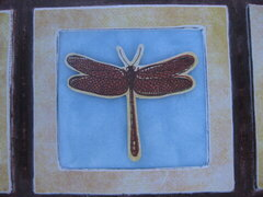 Dragonfly stamped image, up close
