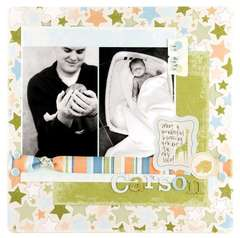 Making Memories Animal Cracker newborn layout