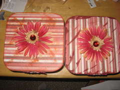 Tops of altered recipe boxes