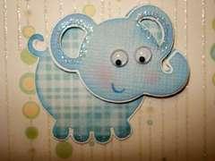 Elephant on card close up