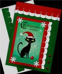 Cat In Santa Hat Christmas card