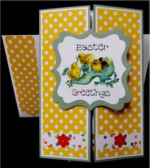 Chicks in Shoe Gate Fold Easter Card