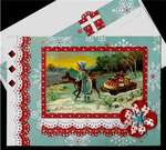 Girl With Deer Pulling Sled Xmas Card