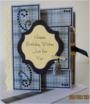Gray Plaid Birthday TriFold Shutter Card view 1
