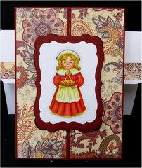 Pilgrim Woman Gate Fold Thanksgiving Card
