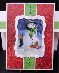 Snowman With Sock and Gifts Christmas Card
