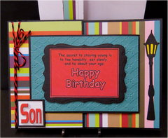 Stripes Son Joy Fold Birthday Card