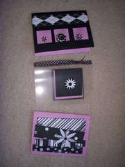 Black white and Pink cards