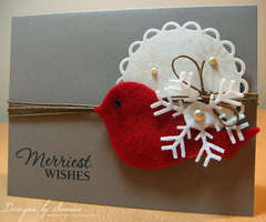 Merriest Wishes Christmas Bird Card