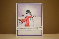 Blue Violet Snowman card