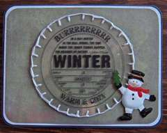 Brrrr Winter Acrylic Card by Clear Scraps DT Cathy