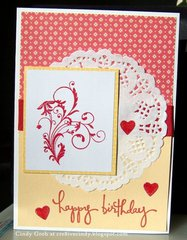 Deep Red Stamps Happy birthday