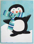 Penguin with stripped scarf Christmas 2008 Card