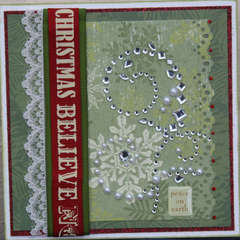 Christmas green snowflake card