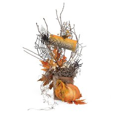 Halloween Pumpkin and Spiderwebs Decor