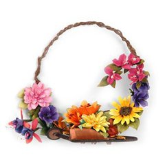 Flower Wreath with a Wheel Barrow by  Susan Tierney-Cockburn