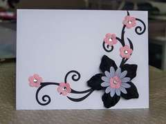 Black and Pink flower card