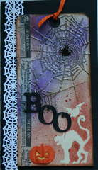 BOO-Using new Tim Holtz Halloween Tissue Tape & Cobweb Texture Fades