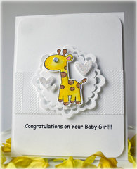 Giraffe Baby Girl Card