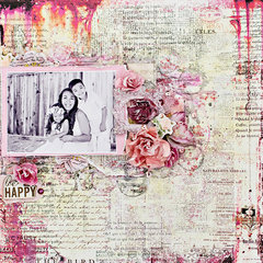 Be Happy layout. Prima October BAP challenge.