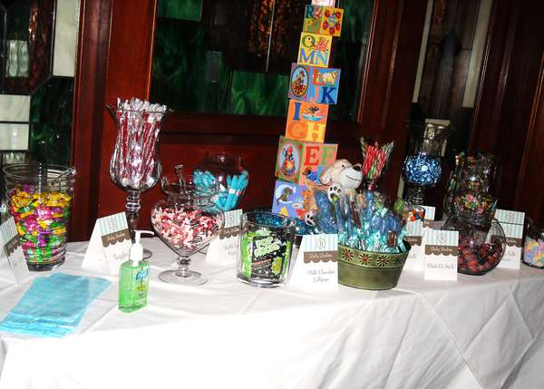 photo a candy table at a baby shower