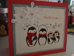 Our family in penguins flocked Christmas card