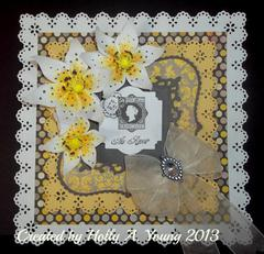 Yellow and Grey Lily Card