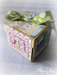 Card cube for the birth of twins (girl side)