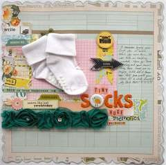 Perserving baby socks on a layout