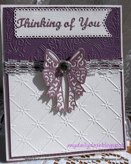 Tattered lace small bow card