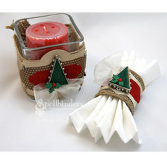 Christmas Tree Bezel Candle Holder and Napkin Ring by Teresa Horner