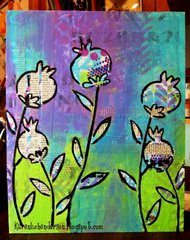 Poppies on Mixed Media Board