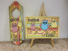 Baby girl card and door hanger