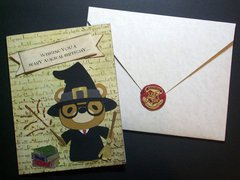 Harry Potter birthday card and Hogwarts letter envelope