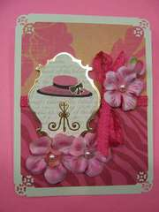 Pink Hat with gold foil and silk flowers