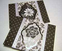 Black and White dots, flowers, silver foil