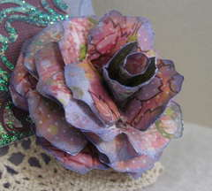 Handmade flower on tag #1 for Martica's Tag/Lace Swap