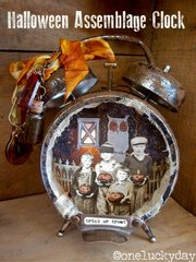 Halloween Assemblage Clock by Media Team Member Paula Cheney