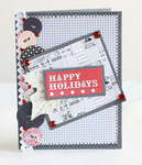 Grey and red Happy Holidays card