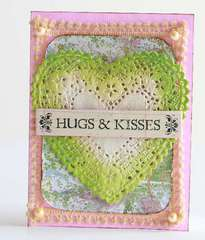 Hugs & kisses doily heart Valentine's Day Card