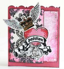 Damask passion Valentine's Day card