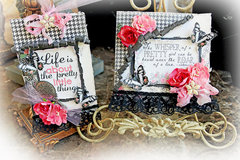 Pretty Card & Tag Set *Scraps Of Elegance* August Kit Raindrops On Roses