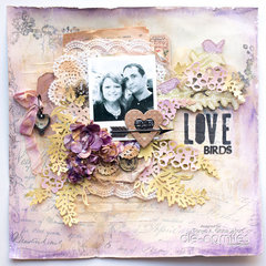 Love Birds Mixed Media Layout