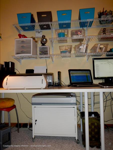 Scraproom Close Up Of Desk Shelves Amp Under Desk Storage
