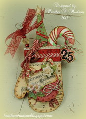 Vintage Christmas Mitten Ornament/ Card Front